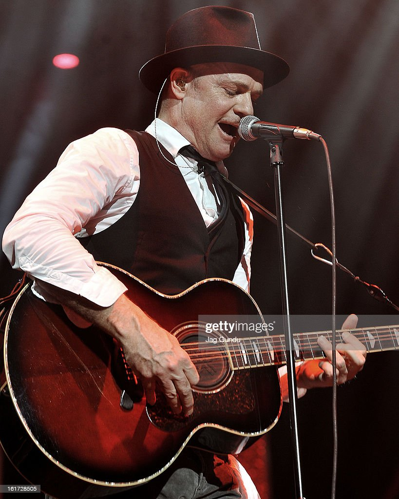 Lead singer Gord Downie of the Tragically Hip performs at Air Canada Centre on February 14, 2013 in Toronto, Canada.