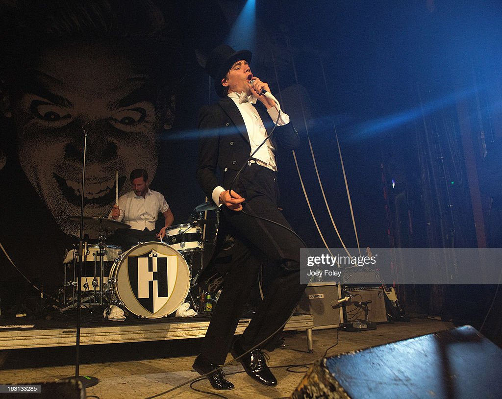 Lead singer Howlin' Pelle Almqvist of The Hives performs in concert at The Vogue on March 4, 2013 in Indianapolis, Indiana.