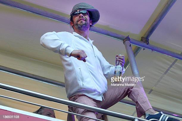 Lead singer Jay Kay from Jamiroquai at Sydney Festival First Night is seen at Norman Jay's Good Time Sound System Bus on January 7 2012 in Sydney...