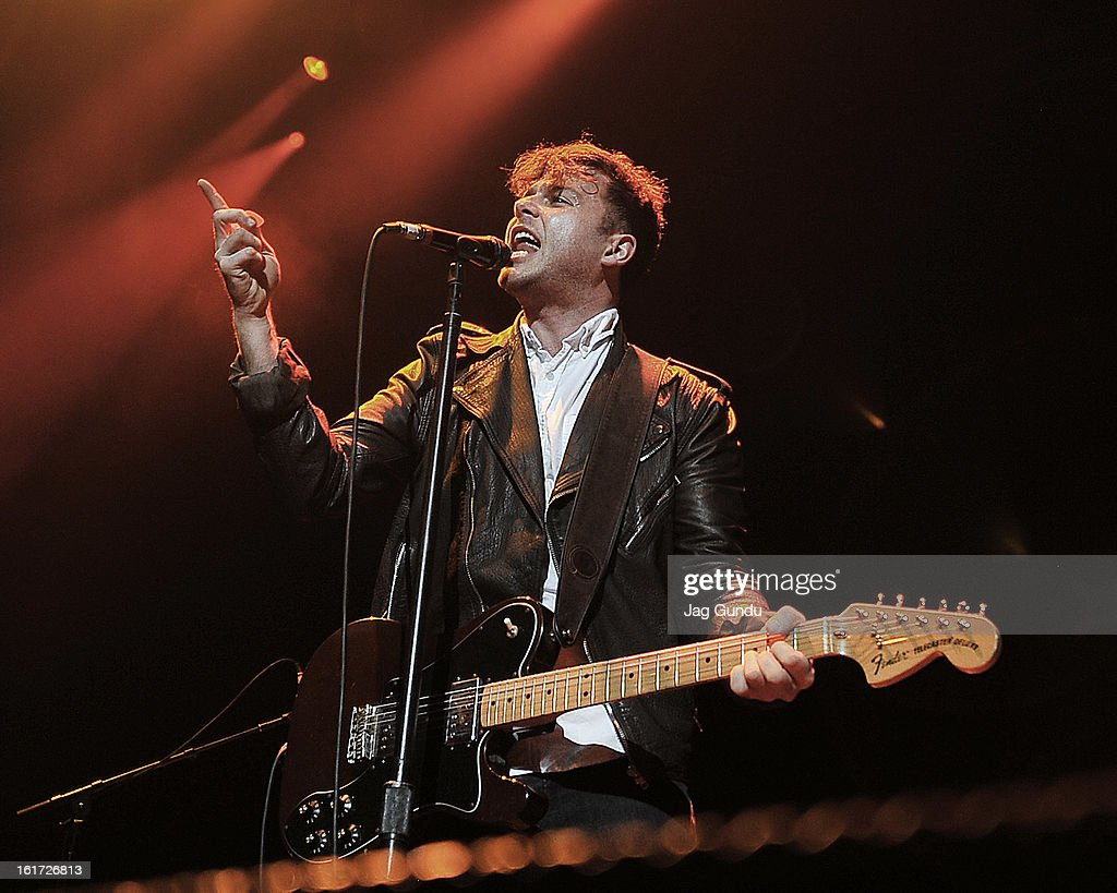 Lead singer Max Kerman of the Arkells opens up for the Tragically Hip at Air Canada Centre on February 14, 2013 in Toronto, Canada.