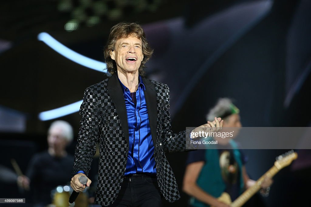 Lead Singer <a gi-track='captionPersonalityLinkClicked' href=/galleries/search?phrase=Mick+Jagger&family=editorial&specificpeople=201786 ng-click='$event.stopPropagation()'>Mick Jagger</a> in action as The <a gi-track='captionPersonalityLinkClicked' href=/galleries/search?phrase=Rolling+Stones&family=editorial&specificpeople=85170 ng-click='$event.stopPropagation()'>Rolling Stones</a> perform live at Mt Smart Stadium on November 22, 2014 in Auckland, New Zealand.