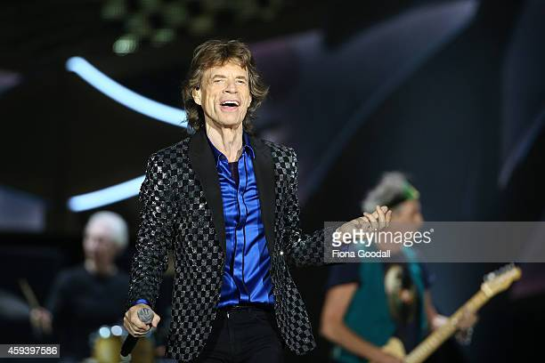 Lead Singer Mick Jagger in action as The Rolling Stones perform live at Mt Smart Stadium on November 22 2014 in Auckland New Zealand