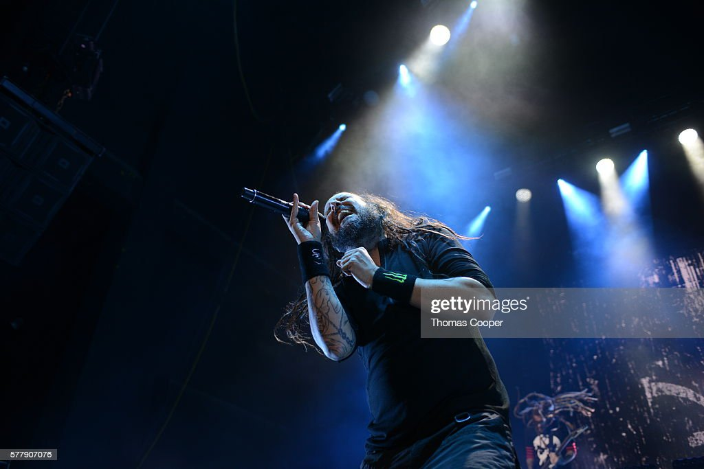 Lead singer of Korn Jonathan David performs on stage at the Korn and Rob Zombie concert at Fiddler's Green Amphitheatre on July 19 2016 in Englewood...