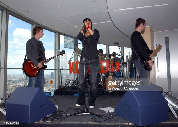 Lead singer of Kosheen Sian Evans performs 620ft up in the BT Tower in London to launch their new album called 'Kokopelli during a 'dotmusic Vertigo...