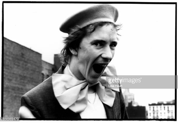 Lead singer of PIL John Lydon aka Johnny Rotten poses for a portrait for the program book for their upcoming tour of Japan on top of his residence on...