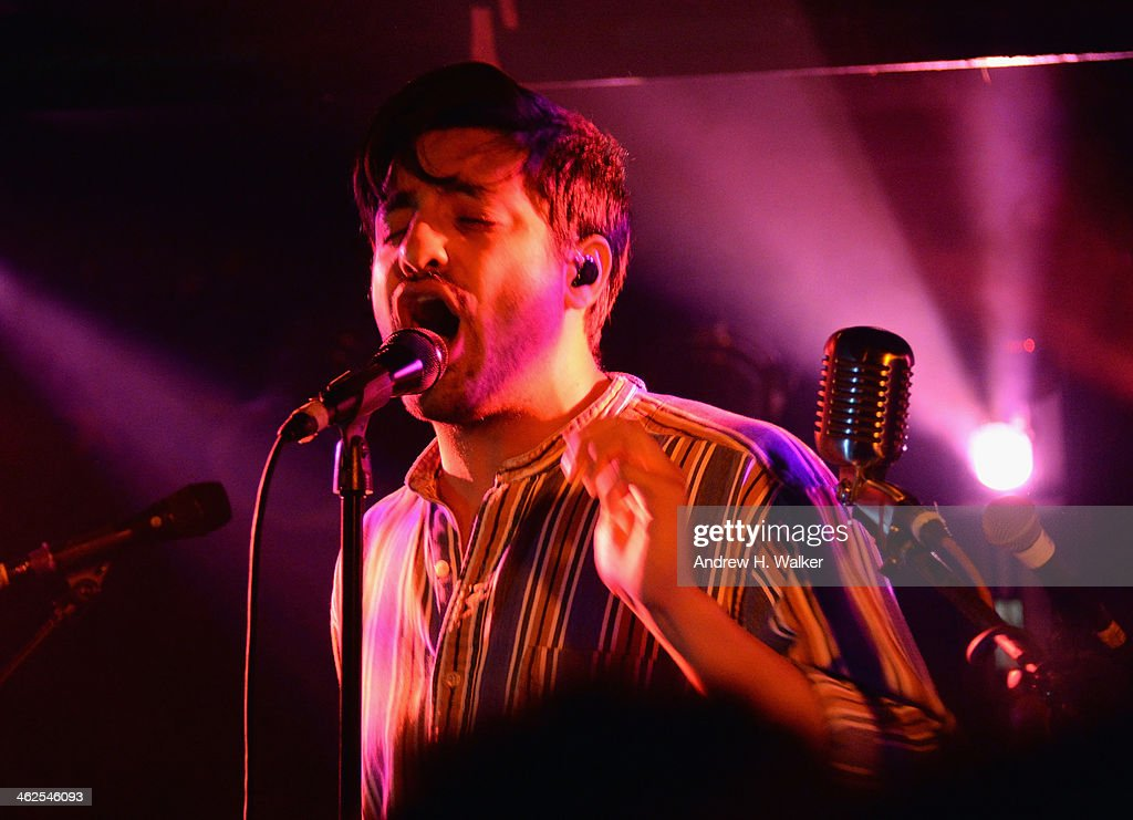 Lead singer of the band Young The Giant, Sameer Gadhia performs during a private concert for SiriusXM listener to air live on SiriusXM's Alt Nation at The Studio At Webster Hall on January 13, 2014 in New York City.