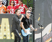 Lead singer Pat Monahan and guitarist Jimmy Stafford of the Grammy AwardWinning band Train perform during the '2015 NFL Kickoff Presented By Hyundai'...