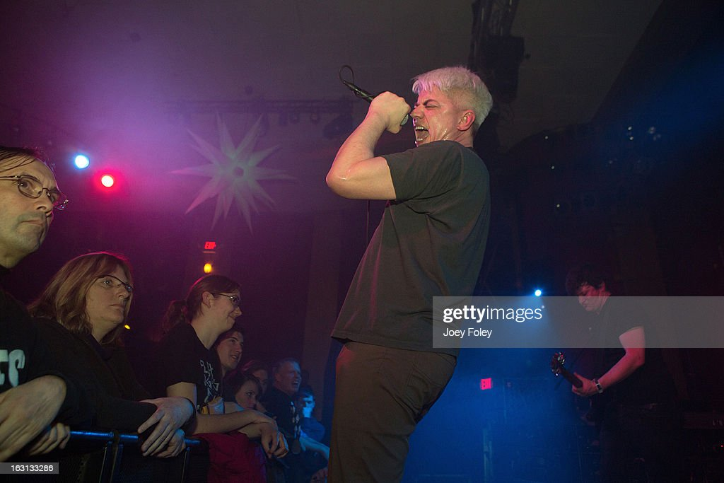 Lead singer Paul Mahern (L) of Zero Boys performs in concert at The Vogue on March 4, 2013 in Indianapolis, Indiana.