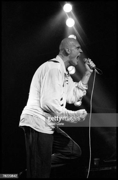 Lead singer Peter Garrett of the rock band 'Midnight Oil' performs onstage at The Lyceum in 1980 in London England