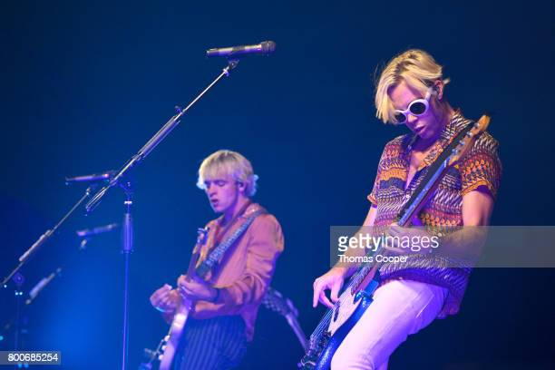 Lead Singer Ross Lynch and Riker Lynch the Pop Band R5 perform at Elitch Gardens on June 24 2017 in Denver Colorado