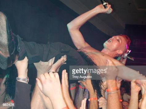 Lead singer Scott Weiland from the band Stone Temple Pilots gets carried around by the audience during their live performance at the El Rey Theater...