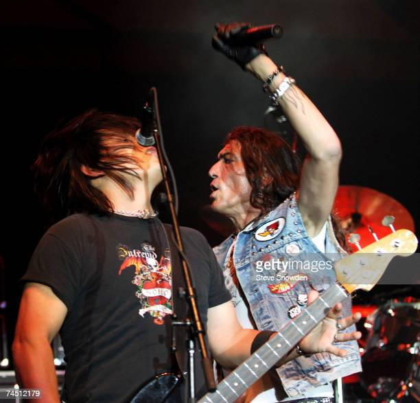 Lead singer Stephen Pearcy of the hardrock band Ratt performs on stage with bass guitarist Robbie Crane at Route 66 Casino's Legends Theater on June...