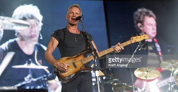 Lead singer Sting of the British rock band The Police performs on stage of the HSH Nordbank Arena on September 11 2007 in Hamburg Germany The concert...