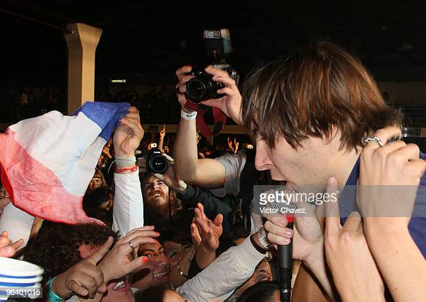 Lead singer Thomas Mars of the French alternative rock band Phoenix performs at Salon Vive Cuervo on February 2 2010 in Mexico City Mexico