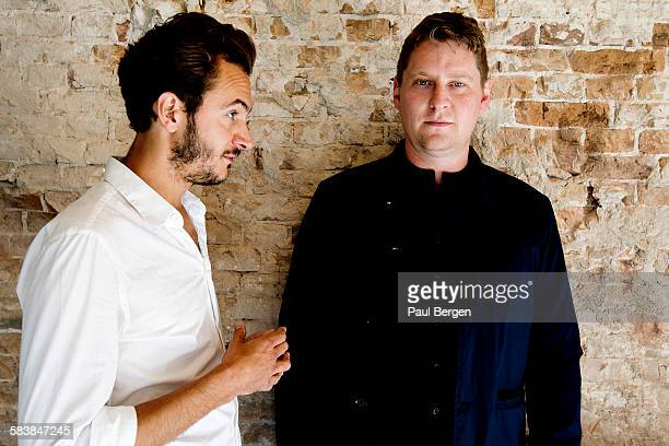 Lead singer Tom Smith and bassist Russell Leetch of British rock band Editors pose for a portrait session in Amsterdam Netherlands 2nd September 2015