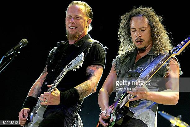 Lead Singer/Guitar player James Hetfield Lead Guitarist Kirk Hammett of Metallica perform duriing Ozzfest on August 9 2008 at Pizza Hut Park in...