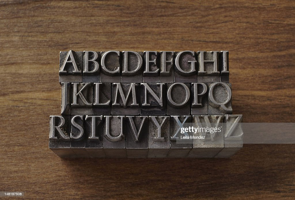 Lead type in alphabet letters : Stock Photo