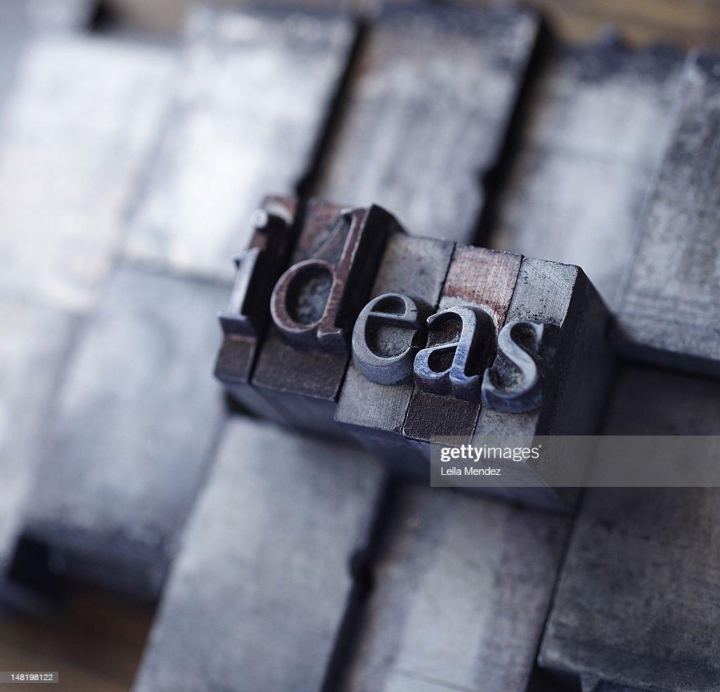 Lead type spelling ''ideas'' : Stock Photo