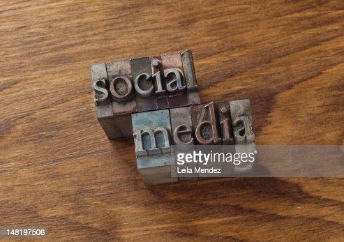 Lead type spelling ''social media'' : Stock Photo
