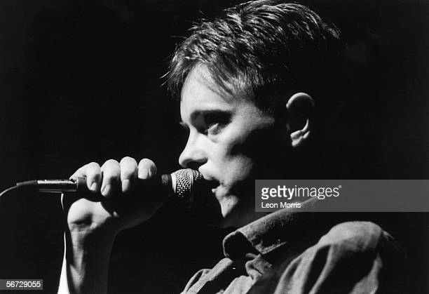 Lead vocalist Bernard Sumner in concert with New Order 1981