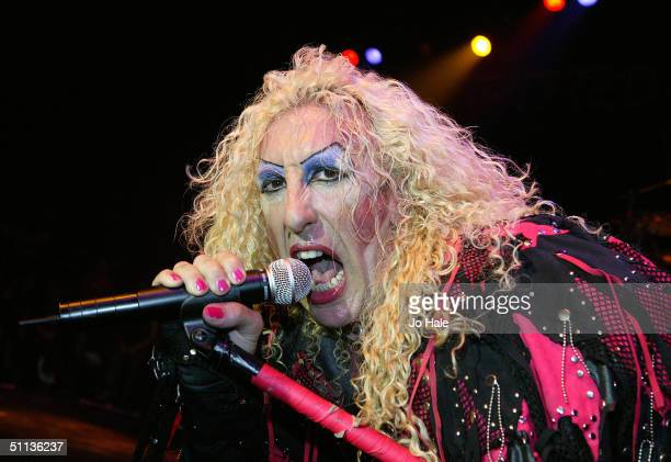Lead vocalist Dee Snider of Twisted Sister performs on stage at The Astoria on August 1 2004 in London