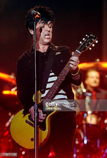Lead vocalist songwriter and guitarist of US punk rock band Green Day Billie Joe Armstrong performs during the Bilbao BBk Live music festival on July...