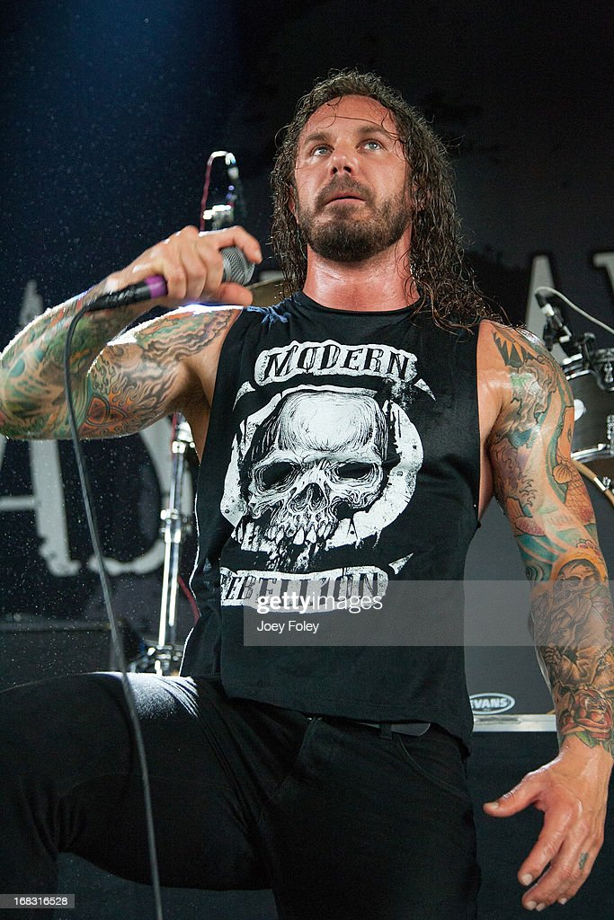 Lead vocalist <a gi-track='captionPersonalityLinkClicked' href=/galleries/search?phrase=Tim+Lambesis&family=editorial&specificpeople=2286347 ng-click='$event.stopPropagation()'>Tim Lambesis</a> of As I Lay Dying performs during the 2012 Rockstar Energy Drink Mayhem Festival at the Riverbend Music Center on July 24, 2012 in Cincinnati, Ohio.