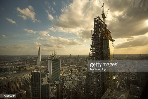 Leadenhall Street known as the 'Cheese Grater' 20 Fenchurch Street nicknamed the 'Walkie Talkie' and the Shard rise from the skyline of the City of...