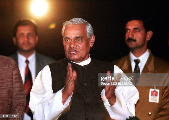 BJP leader ABVajpayee with regional political allies In New Delhi India On March 10 1998