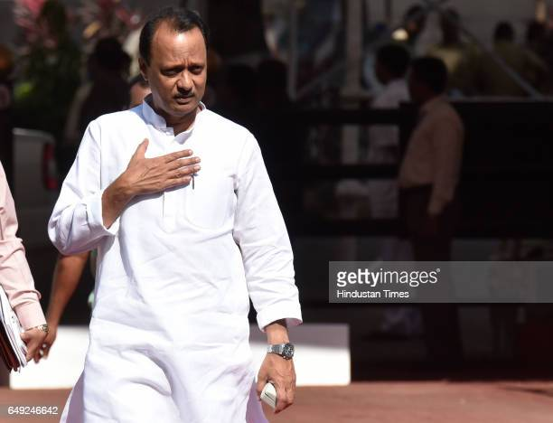 NCP leader Ajit Pawar arrives on first day during Maharashtra Assembly session on March 6 2017 in Mumbai India The Maharashtra Assembly today paid...