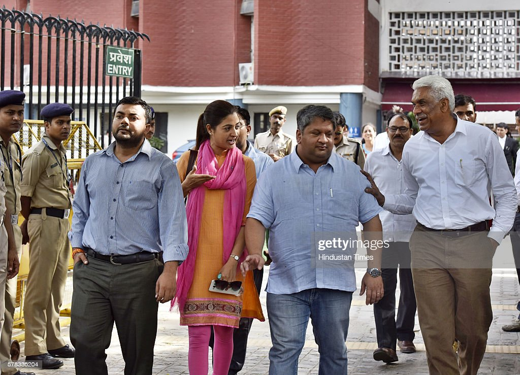 AAP leader Alka Lamba along with others MLAs coming out after meeting with Election Commissioner at Election Commission office on July 21 2016 in New...