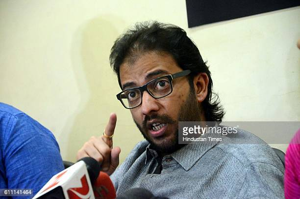 leader Amey Khopkar addresses during a press conference after issuing a 48hour ultimatum to the Pakistani artists to leave the country at Mahim on...