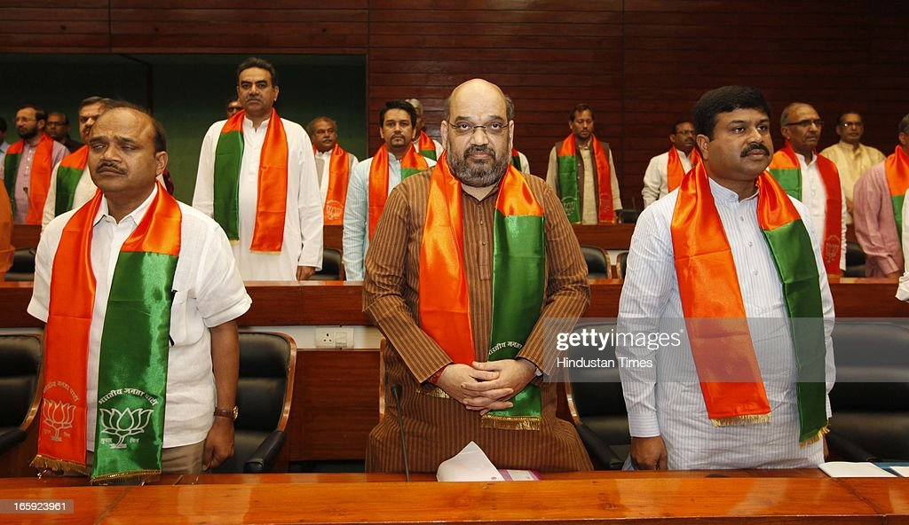 BJP leader <a gi-track='captionPersonalityLinkClicked' href=/galleries/search?phrase=Amit+Shah+-+Politician&family=editorial&specificpeople=13547167 ng-click='$event.stopPropagation()'>Amit Shah</a>, Dharmendra Pradhan and others during first meeting of newly-appointed office bearers of the party on April 7, 2013 in New Delhi, India. They are expected to discuss the strategy for the 2014 general elections. The meet comes a day after the BJP 33rd Foundation Day celebrations.