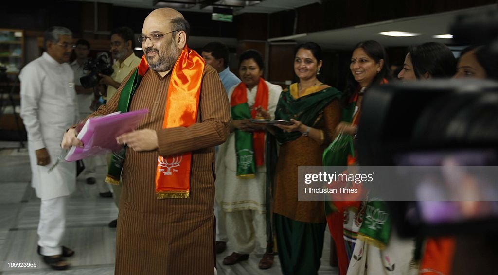 BJP leader <a gi-track='captionPersonalityLinkClicked' href=/galleries/search?phrase=Amit+Shah+-+Politician&family=editorial&specificpeople=13547167 ng-click='$event.stopPropagation()'>Amit Shah</a> during first meeting of newly-appointed office bearers of the party on April 7, 2013 in New Delhi, India. They are expected to discuss the strategy for the 2014 general elections. The meet comes a day after the BJP 33rd Foundation Day celebrations.
