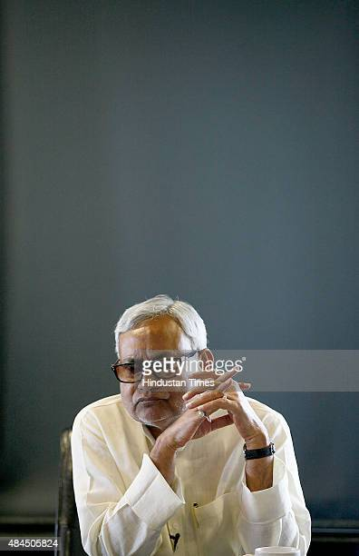 JDU leader and Bihar Chief Minister Nitish Kumar during an interview at Hindustan Times House on August 19 2015 in New Delhi India Aam Aadmi Party...