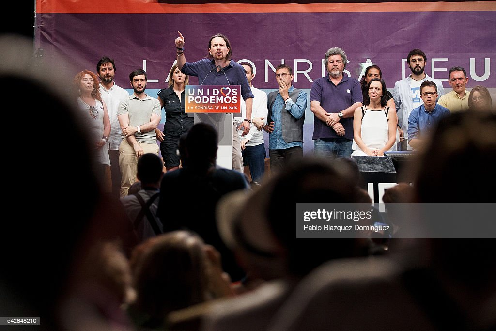 Leader and candidate of left wing alliance party Unidos Podemos 'United We Can' Pablo Iglesias addresses supporters during a rally ahead of Spanish General Elections on June 24, 2016 in Madrid, Spain. Spanish voters head back to the polls on June 26 after the last election in December failed to produce a government. Latest opinion polls suggest the Unidos Podemos 'United We Can' left-wing alliance could make enough gains to come in second behind the caretaker government of the center-right Popular Party.