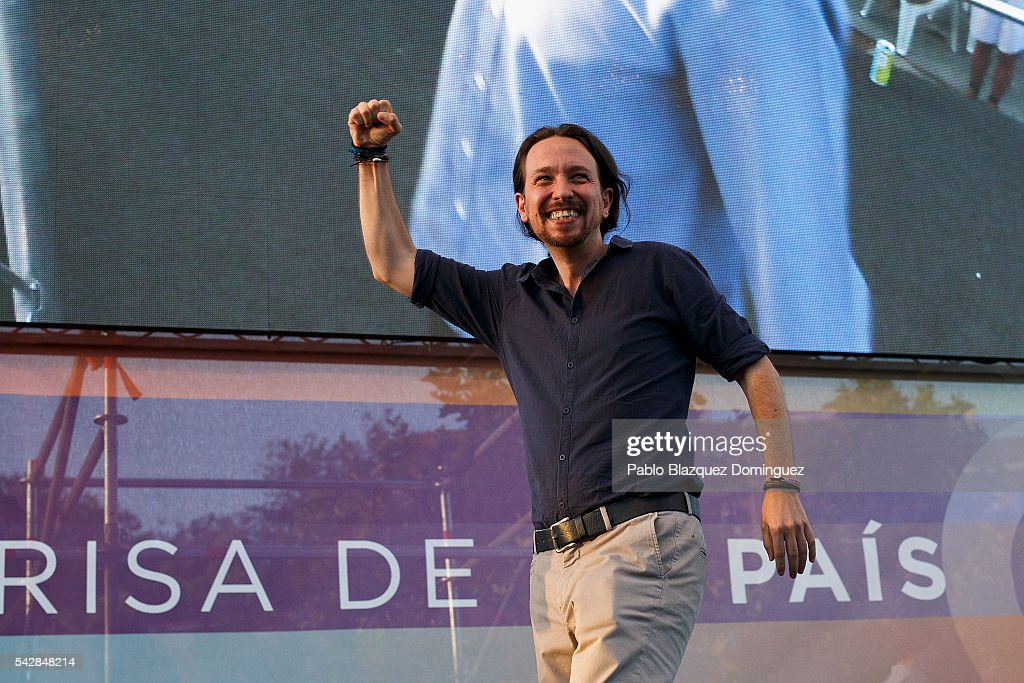 Leader and candidate of left wing alliance party Unidos Podemos 'United We Can' Pablo Iglesias gestures towards his supporters during a rally ahead of Spanish General Elections on June 24, 2016 in Madrid, Spain. Spanish voters head back to the polls on June 26 after the last election in December failed to produce a government. Latest opinion polls suggest the Unidos Podemos 'United We Can' left-wing alliance could make enough gains to come in second behind the caretaker government of the center-right Popular Party.