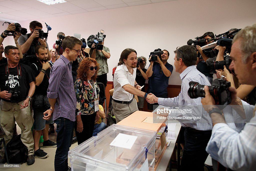 Leader and candidate of left wing alliance party Unidos Podemos 'United We Can' Pablo Iglesias prepares to cast his vote during the Spanish General Elections on June 26, 2016 in Madrid, Spain. Spanish voters head back to the polls after the last election in December failed to produce a government. Latest opinion polls suggest the Unidos Podemos left-wing alliance could make enough gains to come in second behind the ruling center right Popular Party.