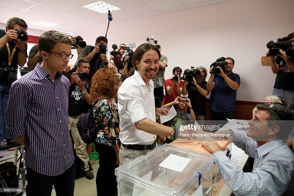 Leader and candidate of left wing alliance party Unidos Podemos 'United We Can' Pablo Iglesias poses for photographers as he casts his vote during the Spanish General Elections on June 26, 2016 in Madrid, Spain. Spanish voters head back to the polls after the last election in December failed to produce a government. Latest opinion polls suggest the Unidos Podemos left-wing alliance could make enough gains to come in second behind the ruling center right Popular Party.