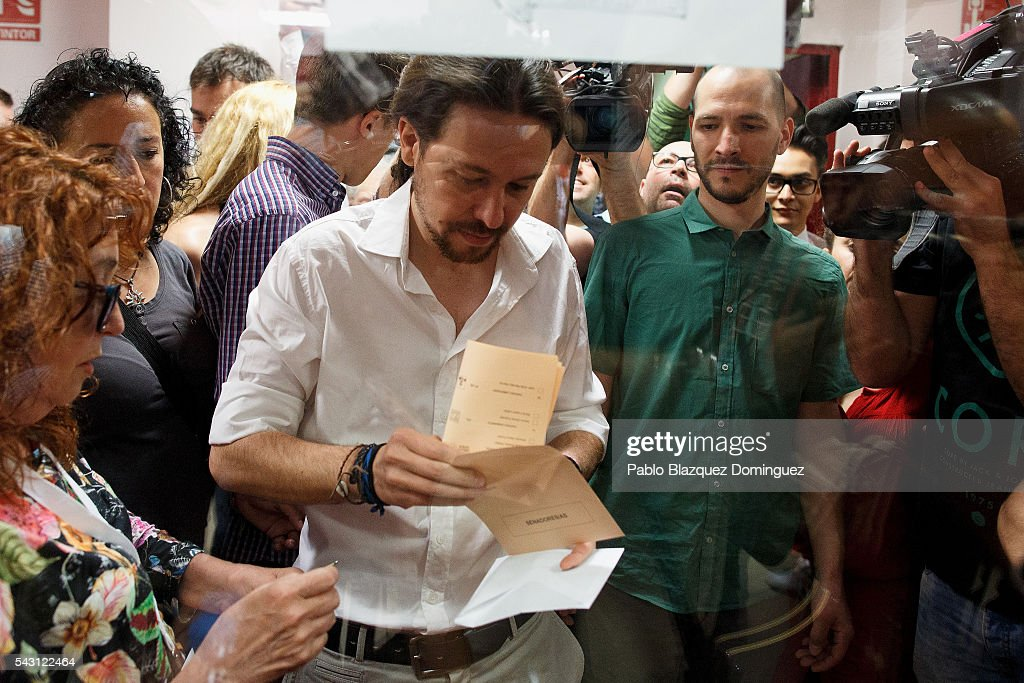 Leader and candidate of left wing alliance party Unidos Podemos 'United We Can' Pablo Iglesias casts his vote during the Spanish General Elections on June 26, 2016 in Madrid, Spain. Spanish voters head back to the polls after the last election in December failed to produce a government. Latest opinion polls suggest the Unidos Podemos left-wing alliance could make enough gains to come in second behind the ruling center right Popular Party.