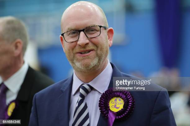 UKIP leader and candidate Paul Nuttal arrives at Fenton Sports Centre as votes are counted in the StokeOnTrent Central byelection on February 23 2017...