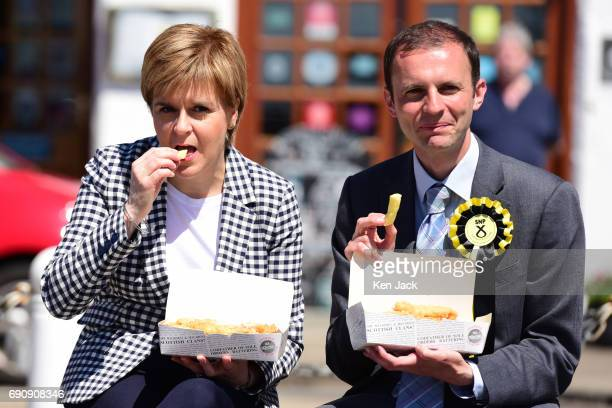 SNP leader and First Minister Nicola Sturgeon enjoys fish and chips on the general election campaign trail in the North East Fife constituency with...