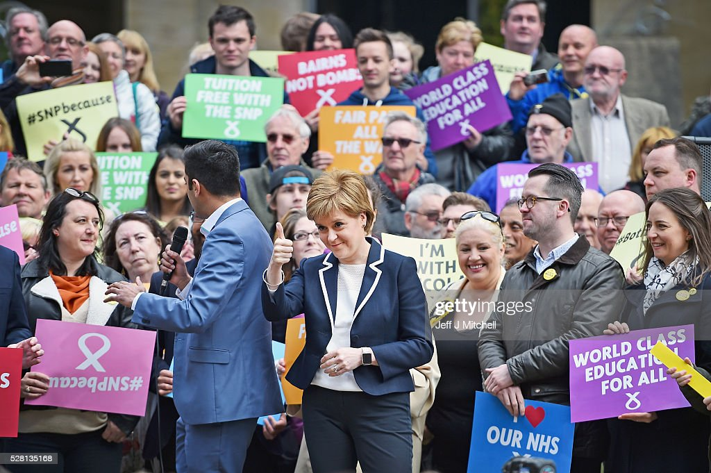 SNP leader and First Minister of Nicola Sturgeon holds her final party rally in Buchanan Street on May 4, 2016 in Glasgow, Scotland. Political party leaders will embark on the final day of campaigning in a bid to win over voters on the eve of the Scottish Parliament election.
