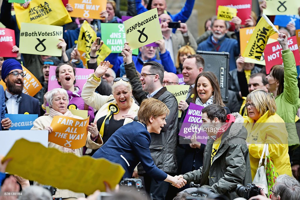 SNP leader and First Minister of <a gi-track='captionPersonalityLinkClicked' href=/galleries/search?phrase=Nicola+Sturgeon&family=editorial&specificpeople=2582617 ng-click='$event.stopPropagation()'>Nicola Sturgeon</a> holds her final party rally in Buchanan Street on May 4, 2016 in Glasgow, Scotland. Political party leaders will embark on the final day of campaigning in a bid to win over voters on the eve of the Scottish Parliament election.