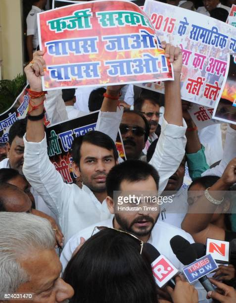 RJD leader and former Deputy Chief Minister of Bihar Tejaswi Yadav talking to media at Bihar Assembly before the floor test on July 28 2017 in Patna...