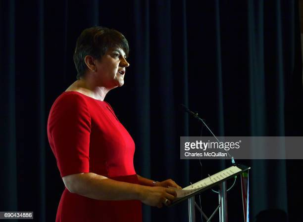 DUP leader and former First Minister Arlene Foster addresses the gathered media as the Democratic Unionist party launch their manifesto at the Old...
