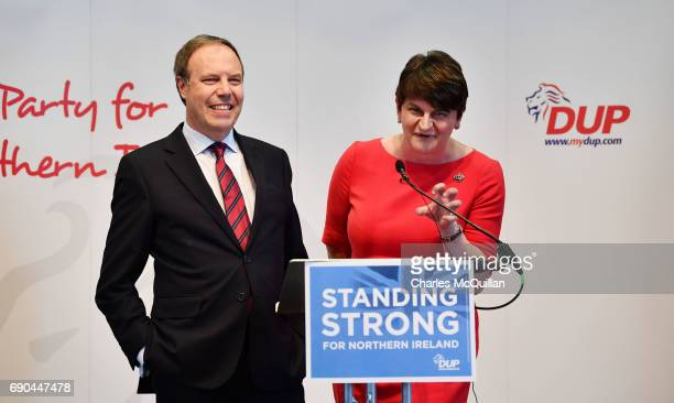 DUP leader and former First Minister Arlene Foster and DUP deputy leader Nigel Dodds take questions from the gathered media as the Democratic...