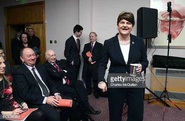 DUP leader and former First Minister Arlene Foster jokes with party members as she launches the Democratic Unionist Party's manifesto at the Stormont...