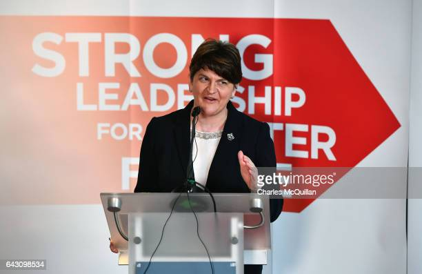 DUP leader and former First Minister Arlene Foster launches the Democratic Unionist Party's manifesto at the Stormont hotel on February 20 2017 in...