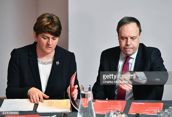 DUP leader and former First Minister Arlene Foster launches the Democratic Unionist Party's manifesto alongside Nigel Dodds at the Stormont hotel on...